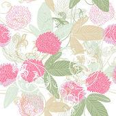 用一只手可爱矢量无缝花纹绘制三叶草花 — 图库矢量图片