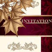 Design of luxury invitation card in vintage style with maple lea — 图库矢量图片