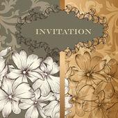 Design élégant de carte d'invitation floral dans le style vintage — Vecteur