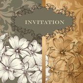 Elegant design of floral invitation card in vintage style — Stok Vektör