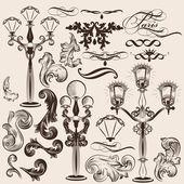 Vektorový soubor kaligrafické dekorativních prvků a pouliční osvětlení — Stock vektor