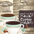 Coffee menu with cups on wooden a texture — Stock Vector