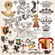 Collection of vintage vector heraldic elements — Vector de stock #30590497