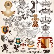 Collection of vintage vector heraldic elements — Vecteur #30590497