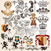 Colección de elementos heráldicos vector vintage — Vector de stock
