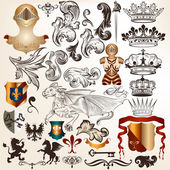 Collection of vintage vector heraldic elements — Stock Vector