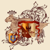Heraldic design with coat of arms and dragon in vintage style — ストックベクタ
