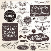 Set of vector calligraphic vintage elements and labels for desig — Stock Vector