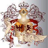 Heraldische ontwerp met wapenschild, paard en draak in vintage — Stockvector