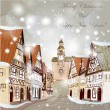 Christmas scene with houses in snow — Stock Vector