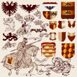 Collection of vector heraldic elements for design — Vector de stock #31309901