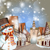 Christmas scene with houses in snow and cute snowman — Vector de stock