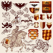 Collection of vector heraldic elements for design — Vettoriale Stock