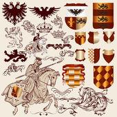 Kolekce heraldických prvků vektorů pro design — Stock vektor