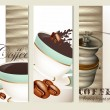 Set of vector brochures with coffee — Stock Vector