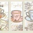 Stok Vektör: Brochure vector set with vintage cups of tea