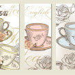Brochure vector set with vintage cups of tea — Vecteur #31349393