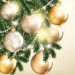 Christmas vector greeting card with baubles: — Stockvektor