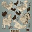 Collection of high detailed hand drawn animals in vintage style — Imagens vectoriais em stock