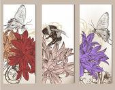 Vetor de folheto conjunto com elementos florais — Vetorial Stock