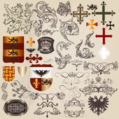 Set of vector heraldic elements in vintage style — Stock Vector