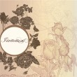 Elegant floral invitation card with roses — Imagen vectorial