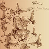 Beautiful floral background with ornament and butterflies — Vettoriale Stock