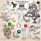 Christmas set of vintage decorative elements for design — Stock Vector