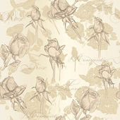 Seamless vector wallpaper with roses in vintage style — Stock Vector