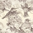 Beautiful vector seamless wallpaper with  humingbirds in vintage — Imagens vectoriais em stock