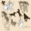 Collection of vector detailed horses for design — Vector de stock #32592567
