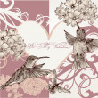 Wedding invitation card with hummingbirds — Imagen vectorial