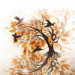 Vector de stock : Autumn floral background with tree and birds