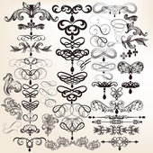 Collection of calligraphic vintage vector design elements for de — Stock Vector