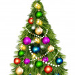 Vecteur: Christmas vector tree against white background