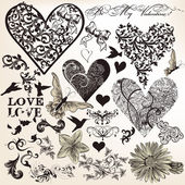 Collection of vector calligraphic elements on love theme in vint — Stock Vector
