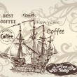 Beautiful vector background in vintage style with detailed ship — Stock vektor