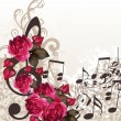 Music vector background with treble clef and roses for design — Stock Vector