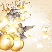 Christmas background with baubles and birds — Stock Vector