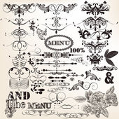 Collection of vintage vector design elements and page decoration — Stock Vector