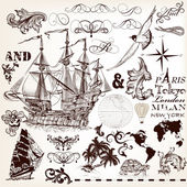 Vector set of vintage elements on marine theme with ship and swi — Stok Vektör