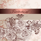 Wedding invitation card with flowers for design — Vecteur