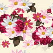 Beautiful seamless wallpaper pattern with flowers — Stock vektor