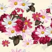 Beautiful seamless wallpaper pattern with flowers — Vector de stock