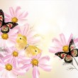 Beautiful floral background with flowers and butterflies — Stock Vector