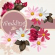 Vector de stock : Wedding invitation card with flowers