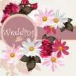 Wedding invitation card with flowers — Vector de stock #34097061