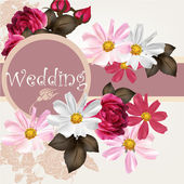 Wedding invitation card with flowers — Vector de stock