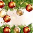 Christmas background with baubles and fir branches — Imagen vectorial