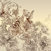 Beautiful vector background with hand drawn flowers — Cтоковый вектор